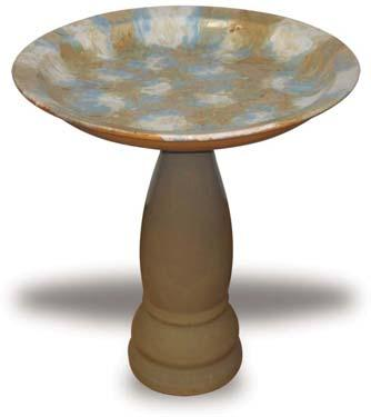 Molten Blue and Tan Bird Bath